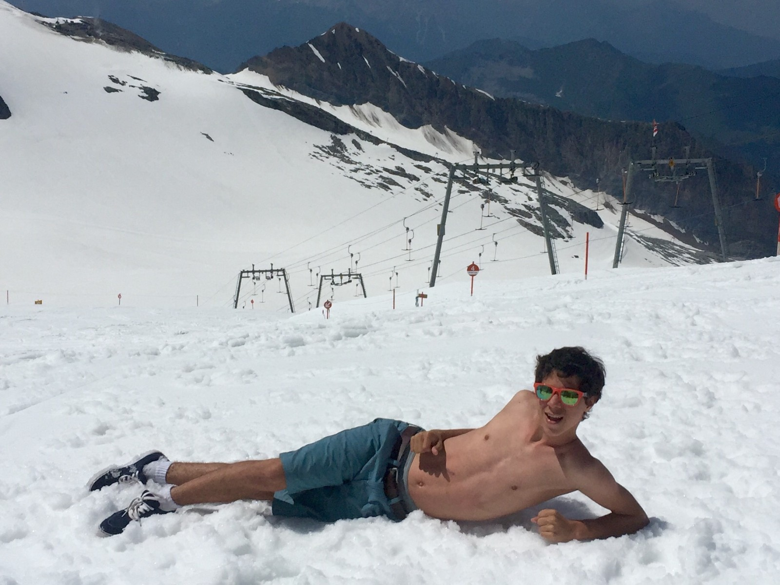 Chilling at 10,000 feet atop the Hinterlux Glacier in Austria.